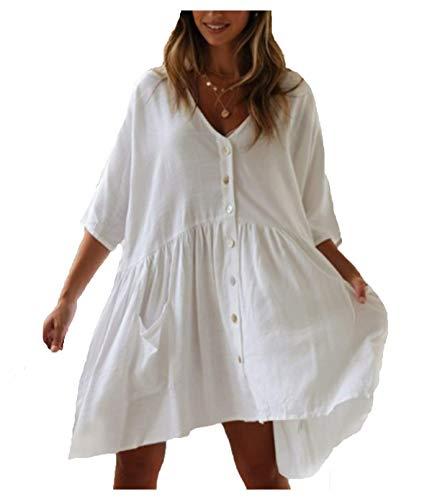 Wander Agio Beach Swimsuit for Women Sleeve Coverups Bikini Cover Up Shirt Button Pocket Down Skirt White