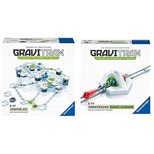 GraviTrax 27597 Starter Kit STEM Activity,White & Erweiterung Gauß-Kanone - Ideales Zubehör für spektakuläre Kugelbahnen, Konstruktionsspielzeug für Kinder ab 8 Jahren
