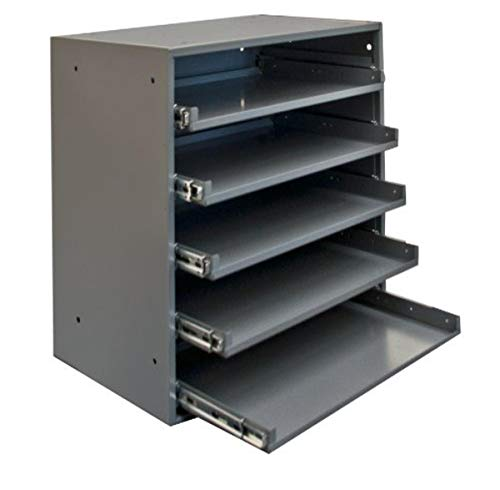 Durham 305B-95 Cold Rolled Steel Heavy Duty Triple Track Bearing Slide Rack FOR 5 Large Compartment Boxes, 375 lbs Capacity, 12-1/2' Length x 20-1/2' Width x 21' Height, Gray Powder Coated Finish. Slide Rack does not come with compartment boxes which are sold separately.
