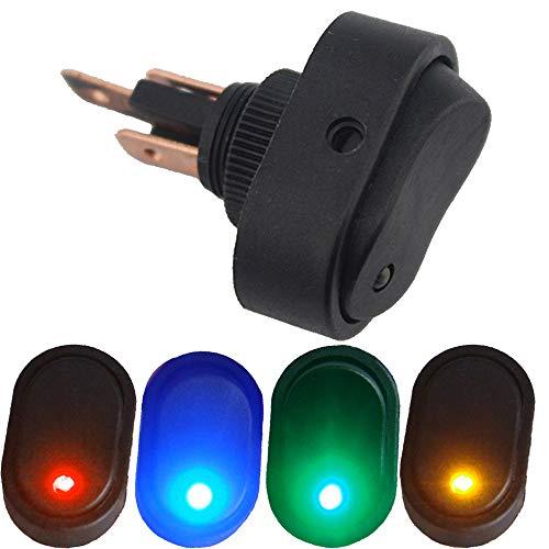 Mintice - Interruptor de encendido y apagado para coche o motocicleta, 4 unidades, 12 V, 30 A, color azul, rojo, verde, amarillo y azul, SPST de 3 pines
