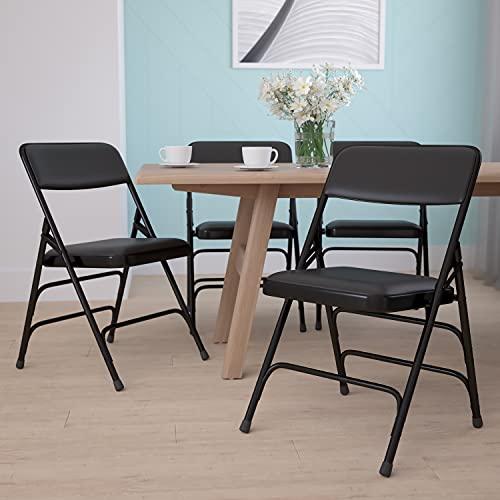 4Unidades Beige Vinilo Plegable sillas, Estructura metálica, Vinilo, Black Vinyl/Black Frame, 4 Unidades