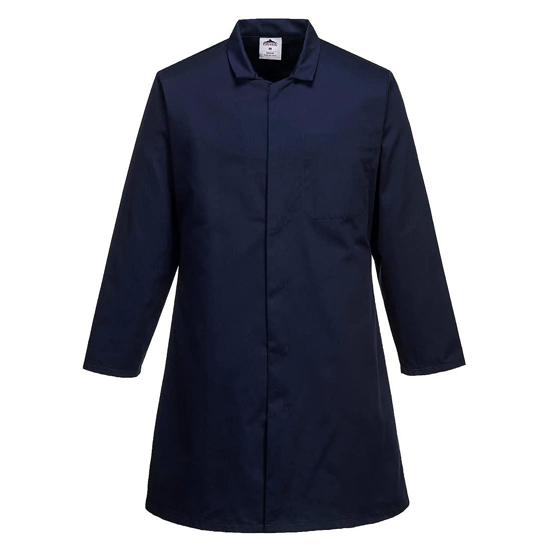Portwest Workwear Mens Mens Food Coat One Pocket Navy Large