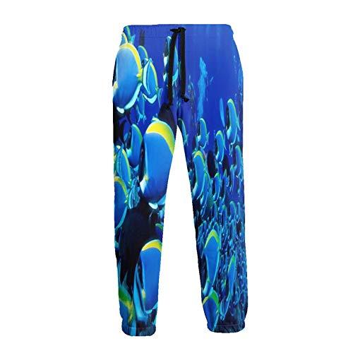Olverz Ocean World Fsh Sweatpants für Herren Elastische Taille Jogger Pants Strapazierfähige Sweatpants Gr. 56, Schwarz