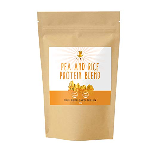 Pea and Rice Protein Isolate - 1 kg. Gluten Free Vegan protein powder 100% natural. Plant protein powder.