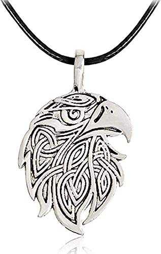 WSBDZYR Co.,ltd Necklace Classic Necklace Amulet Wolf Eagle Pendant Necklace Leather Rope Chain Silver Color Steampunk Jewelry Gift for Men Women Fashion
