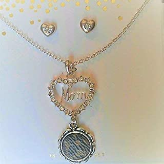 Crystal, Mom. Heart with Necklace & Earrings. includes handcrafted upcycle Luis Vuitton monogram Canvas charm, Gift