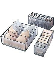 MLGY 3ピースの折りたたみ式引き出し収納ボックス、下著のブラジャーとソックスの収納ボックス、スペースを節約する引き出し仕切り、ランジェリー、下著、ブラジャー、ソックス、ネクタイ、スカーフなどの整理に最適