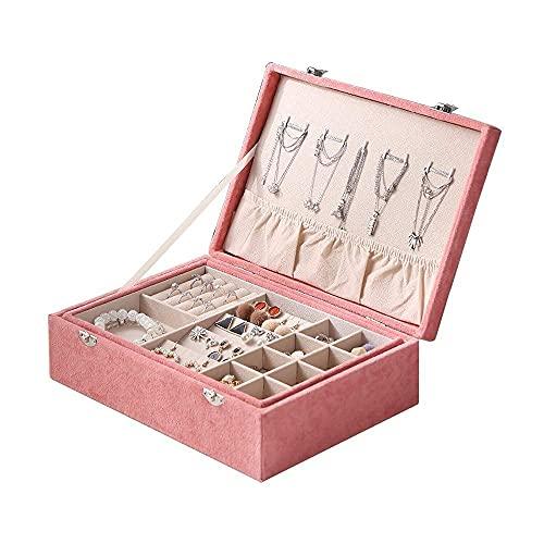 JIANGCJ Bella Joyero Caja Organizador para niñas Femenino Hielo Flor de Gamuza Joyería de Gamuza 2 Capa de joyería Pantalla de Almacenamiento Estuche de joyería de joyería