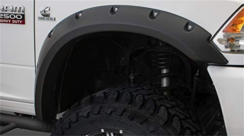 Bushwacker 50921-02 Black Max Coverage Pocket/Rivet Style Smooth Finish 4-Piece Fender Flare Set for 2010-2018 Dodge Ram 2500, 3500 (Includes Dually)