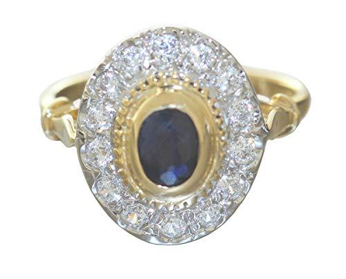 Hobra-Gold Anillo de oro 585 zafiro y circonitas anillo elegante ovalado para mujer bicolor de 14 quilates