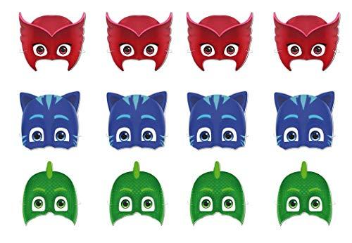 PJ Masks 0551, Pack 12 caretas, Multicolor para Fiestas y cumpleaños