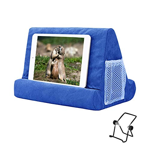 Multi-Angle Soft Pillow Lap Stand for iPads,Phone Pillow Lap Stand,Universal iPads Tablet Reading Stand Pillow Holder,Tablets,EReaders,Smartphones,Books,Magazine (Blue)