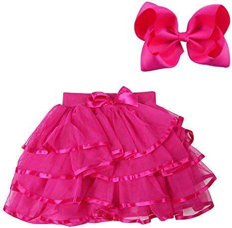 BGFKS 4 Layered Tulle Tutu Skirt for Girls with Matching Hairbow Girl Ballet Tutu Skirt Rose product image