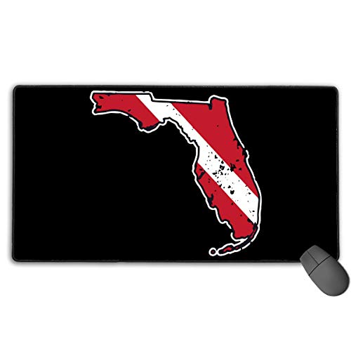 liulishuan Large Gaming Mouse Pad/Mat, Vintage Florida Scuba Dive Flag Map Diving Diver Mousepad with Non-Slip Rubber Base for Keyboard PC, Durable Stitched Edges Unisex13
