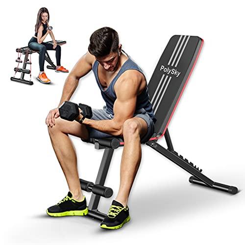 Merpin Cama de levantamiento de pesas ajustable / banco de ejercicios en casa plegable / banco plano inclinado invertido / banco de ejercicios multifuncional adecuado para ejercicio en casa