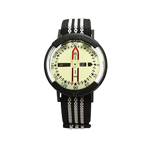 Minear Handgelenk Kompass wasserdichte Hochpräzise Professionelle Wrist Diving Compass Luminous 60M / 197Feet Outdoor Compass Fluorescent Dial Einstellbar für Outdoor Wandern Camping Tauchen