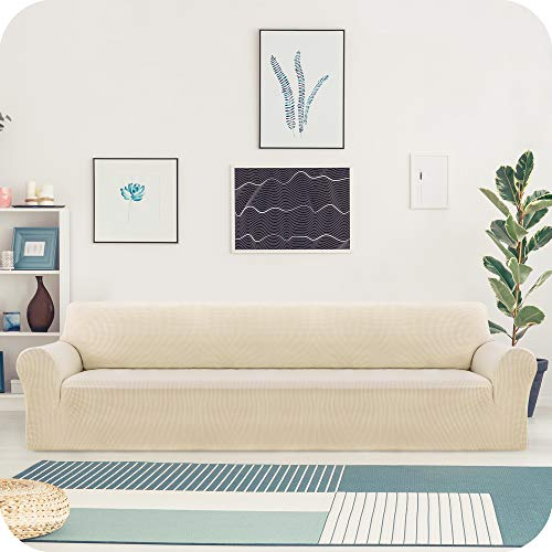 UMI. by Amazon Funda Elastica para Sofa Ajustable 4 Plazas Beige Oscuro