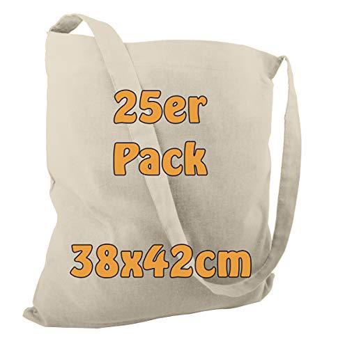 Katoenen tas jute tas schoudertas strandtas om te beschilderen of boodschappen onbedrukt met een lange hengsel natuur 38 x 42 cm 25 stuks
