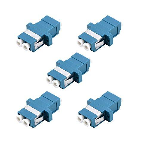 LC Fiber Optic Adapter - LC to LC Duplex Singlemode Coupler - 5 Pack - Blue