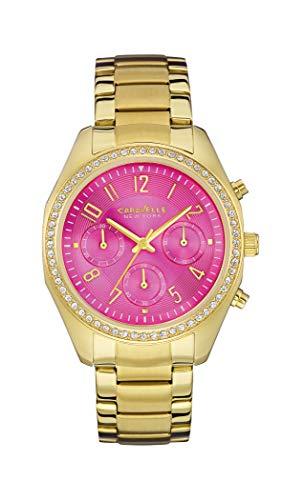 Caravelle 44L168 - Reloj de pulsera para mujer (cronógrafo, esfera rosa y esfera dorada, 36 mm)