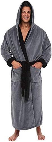 Busirsiz Heren Badjas Flanel Hooded Winter Robe Solid Pluche Dik Verlengde Badjas Man Homewear Terry Robe Pajama Nachthemd ColorGray SizeL4