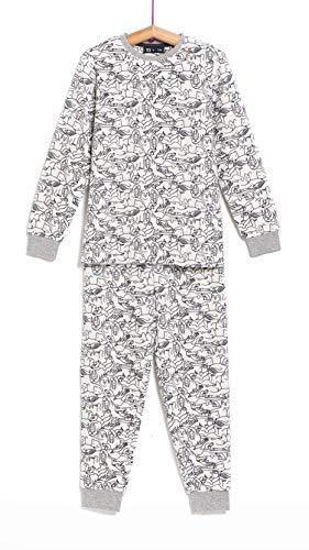 TEX - Pijama Largo para Niño, 2 Piezas, Estampado, Crudo, 7 a 8 años