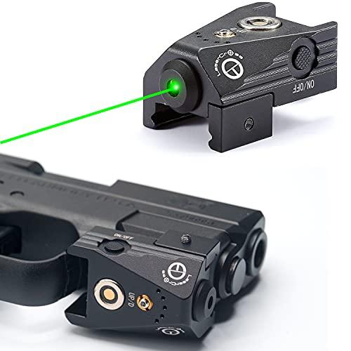 Lasercross Mini Tactical Green Laser Sights Ultra Low Profile Aluminium Shell Green Dot Laser Gun Sight for Pistols.Fit 21mm Picatinny Rail.Magnetic USB Rechargable,Lightweight