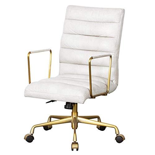 HIGHKAS Möbel Computerstuhl Gaming Chair Einfacher Rückenlehnenstuhl Home Schlafzimmer Computerstuhl Office Boss Drehstuhl (Farbe: Cremeweiß, Größe: 64 * 66 * 92 cm)