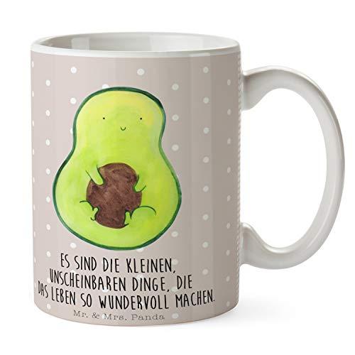 Mr. & Mrs. Panda Tasse Avocado mit Kern - Avocado, Avokado, Avocadokern, Kern, Pflanze, Spruch Leben Tasse, Becher, Kaffeetasse, Kaffeebecher, Teetasse, Tee, Frühstück, Büro