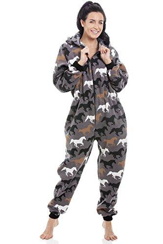 Camille Combinaison Pyjama à Capuche en Polar Femme Couverture Souple Impression Cheval Multicolore Tout en Un 50/52