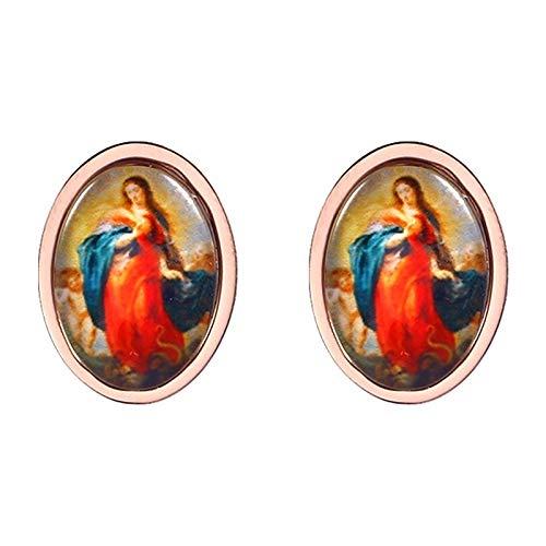 Edelstahl klassische elegante Jungfrau Maria Portrait Ohrstecker katholischen Segen Frauen Ohrstecker Ostergeschenk