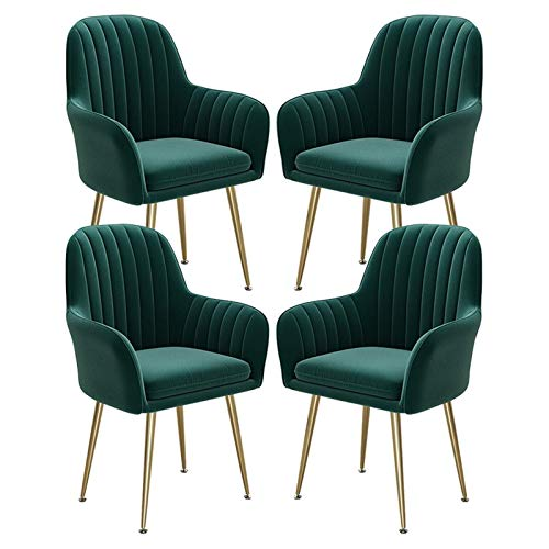 4Pack Velvet Dining Chairs with Glossy Metal Legs Accent Vintage Armchairs Lounge Chair with Fully Upholstered Back for Living Room Bedroom Kitchen (Color : Green)