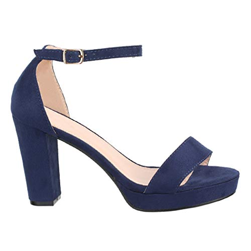 Elara Damen Pumps High Heels Chunkyrayan WW100 Blue-38