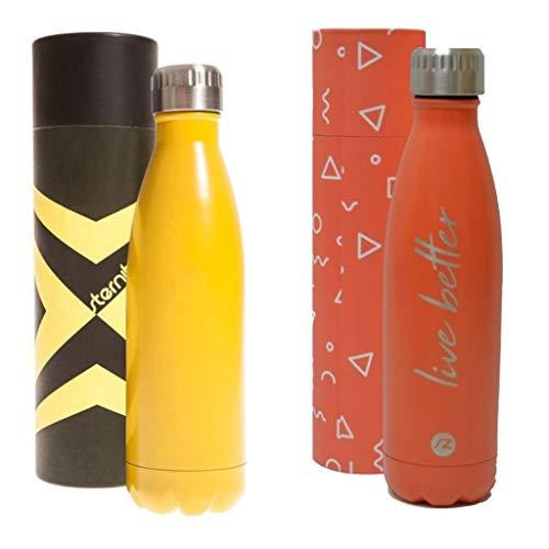 Sternitz Botella de Agua Hydra Acero Inoxidable con Aislamiento al vacio. Mantiene Tus Bebidas frías por 24 Horas y Calientes por 12 Horas.(Pack Amarillo - Coral)