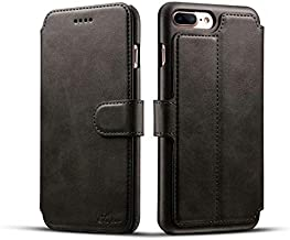 Business, With Wallet Cellphone Cases Cover Phone Case For IPhone 7 Plus / 8 Plus Wallet Premium Synthetic Leather Case With Wallet Card Slots And Kickstand Function (Color : Black)