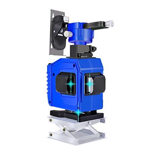 Nivel láser nivel automático azul, Careslong línea de nivel láser en modo pulso, cruz de línea láser 3x360 °, nivel automático 3D horizontal y vertical 12 líneas, IP54 a prueba de agua y 2 baterías