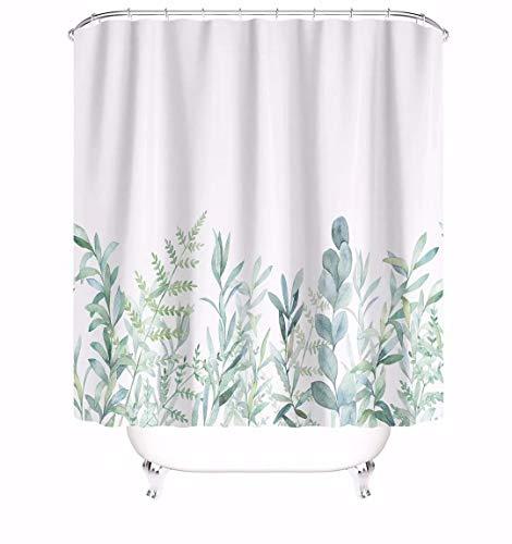 MundW DAS DESIGN Duschvorhang grüne Blätter Blumen Pflanzen Badezimmer Textil Vorhang mit Antischimmel Effekt waschbar Shower Curtain badewanne inkl. 12 C-Ringe mit Gewicht unten 180x180cm(BxH)
