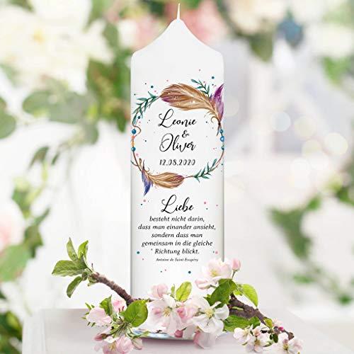 Wandtattoo Loft Hochzeitskerze Federn Kranz personalisiert mit Wunschnamen weiße Kerze zur Hochzeit/mit Hochzeitspruch wie abgebildet