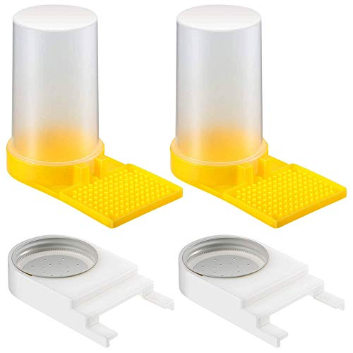 Weforu Alimentador de apicultura de abeja con tapa perforada de plástico y 2 comederos de agua de abeja, 2 unidades