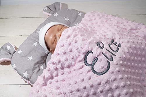 Zweilagige Decke mit Namen + Kissen mit Ohren - Baumwolle - Kinderwagen - MINKY - 50x75 cm - (Hellrosa - Sterne 2)
