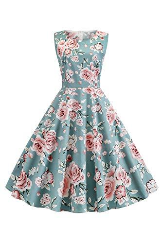 MisShow Damen Vintage Festlich Kleid A-Linie Cocktailkleid Schwingen Falternrock geblümt Partykleid XL