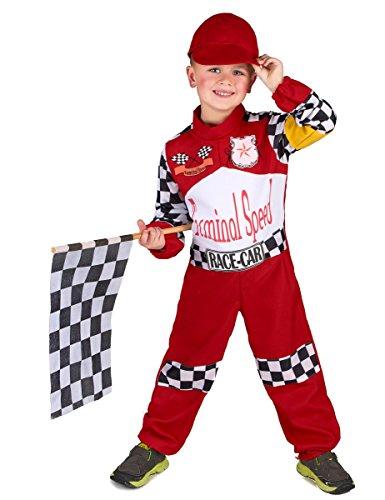 Vegaoo - Formel 1 Rennfahrer Kostüm für Kinder schwarz-Weiss-rot - 110/116 (4-6 Jahre)