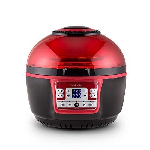 Klarstein VitAir Turbo - Friteuse à air chaud, Sans huile, Capacité de cuisson de 9L, Chauffage infrarouge halogène, 1400W, 50-230 ° C, Minuterie, Ecran LCD, Rouge