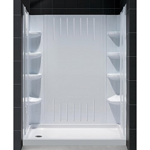 DreamLine 36 in. D x 60 in. W x 75 5/8 in. H Left Drain Acrylic Shower Base and QWALL-3 Backwall Kit In White, DL-6148L-01