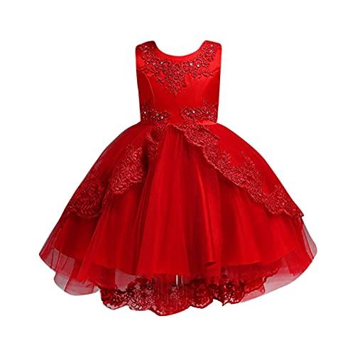 Vestido de encaje para niñas, de tul para boda, dama de honor, comunión, fiesta, bowknot para desfile, cumpleaños, baile, baile, vestido de flores de 4 a 14 años