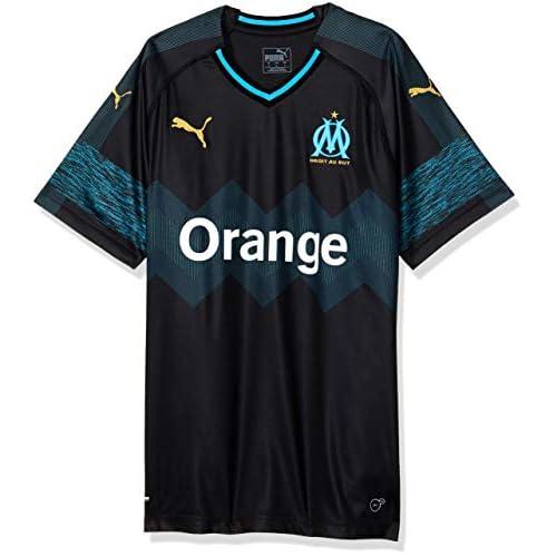 PUMA Olympique De Marseille Away Replica SS T-Shirt, Uomo, Nero/Bleu Azur, S