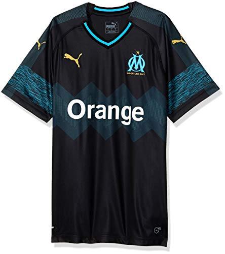 PUMA Herren Olympique de Marseille Away Shirt Replica SS Trikot, Black-bleu Azur, XL