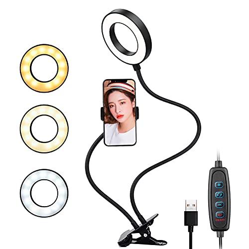 LEDリングライト クリップ式 【3色モード付き 10段階調光 高輝度LED撮影照明用ライト】 美白効果 卓上ライト スマホスタント付き 360度回転 美容化粧/自撮り写真/YouTube生放送/ビデオカメラ撮影用