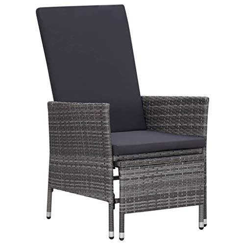 vidaXL Garten Liegestuhl mit Auflagen Gartenstuhl Relaxstuhl Sessel Sonnenliege Hochlehner Stuhl Gartensessel Gartenmöbel Poly Rattan Grau