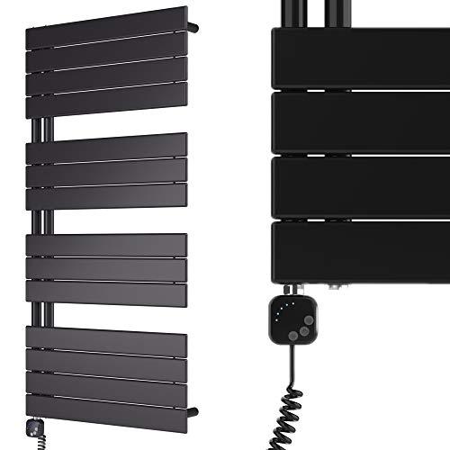 HEATSUPPLY® Design Badheizkörper elektrisch 1.222 x 600 Paneel Handtuchtrockner schwarz inkl. Handtuchwärmer Heizstab 600 Watt mit Smart Heizstab